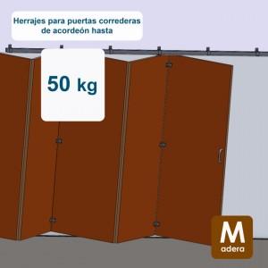 Ferrures pour portes accordeon jusqu´à 50 kg