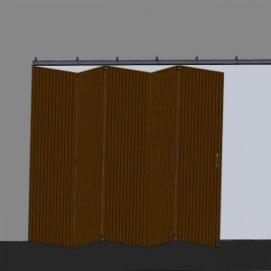 Ferrures pour portes coulissantes superposées en bois.