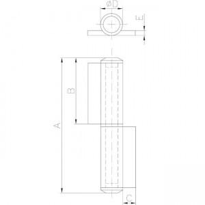 Charnière roulée dessin technique