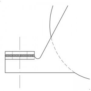 Roue gorge « U » 20 mm à encastrer en acier inox dessin technique