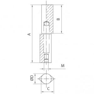 Paumelle profil goutte en acier inoxydable avec axe laiton