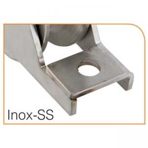 Roue gorge « U » 20 mm à encastrer en acier inox