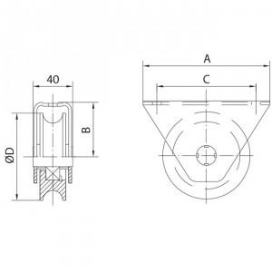 "Roue gorge ""U"" 16 mm applique, roue a gorge"