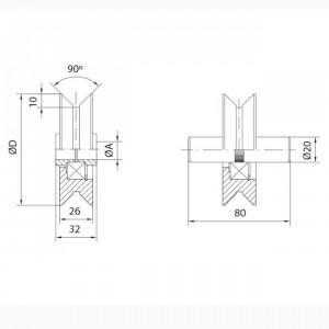 Roue en nylon gorge « V » 20 mm. Paumelles et Charnières