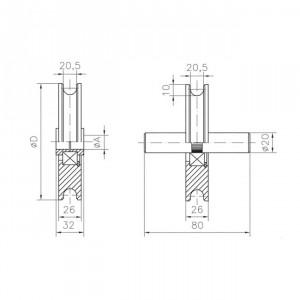 Roue en nylon gorge « U » 20 mm. Paumelles et Charnières
