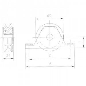 Roue en nylon gorge « V » 20 mm à encastrer, roue a gorge nylon encastrer V