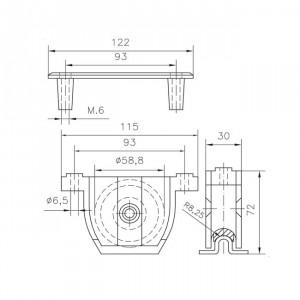 Roue applique Ø60, roue a gorge porte coulissante pvc