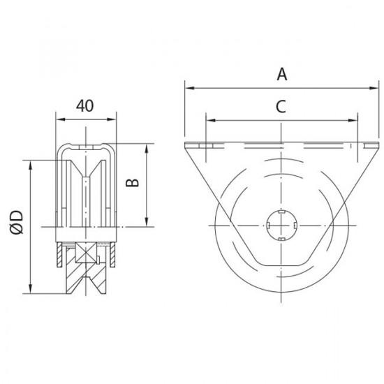 Roue gorge « V » 20 mm applique, roue a gorge v galet applique