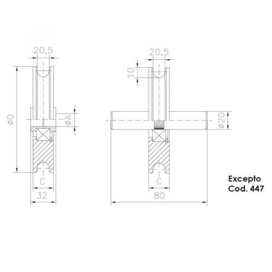 Roue gorge «U» 20 mm pour portes