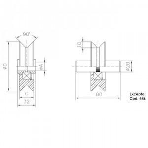 Roue gorge « V » 20 mm, roue a gorge V