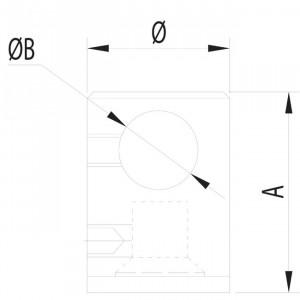 Connecteur tige embase plate, garde corps inox conecteur