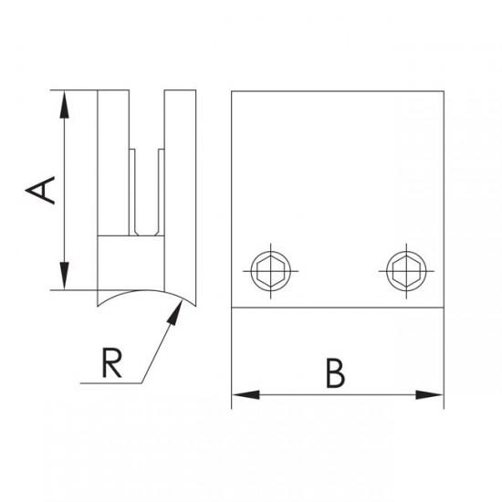 Pince carrée embase courbée