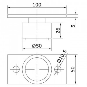 Guide inferieur U-50 pour portes coulissantes