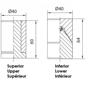 Pivot de 40mm à billes, pivot de portail 40 bille
