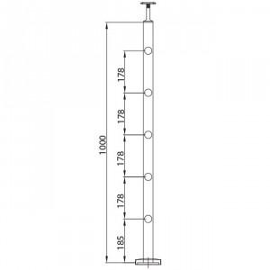 Poteau 5 supports de tige 12 mm, poteaux inox