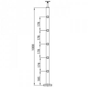 Poteau 5 supports de platine, poteaux inox