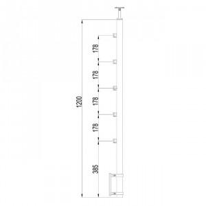 Poteau à mur 5 supports de platine poteux inox