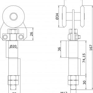 Chariot simple U-60 d´extrémité à visser portes coulissantes portes coulissantes