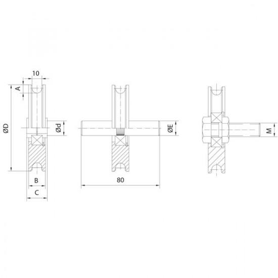 Roue gorge 10 mm pour portes basculantes