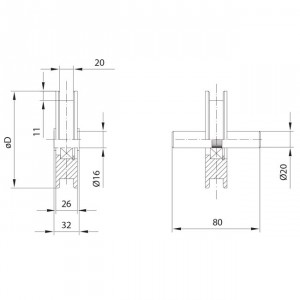Roue canal carré Ø20 mm pour portes basculantes