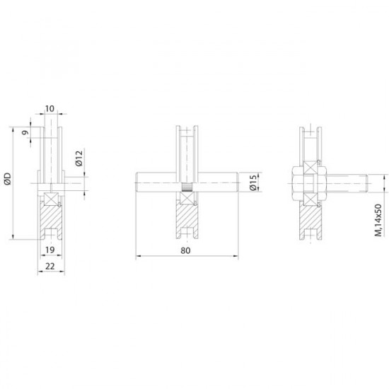 Roues canal carré 10 mm, pour portes basculantes