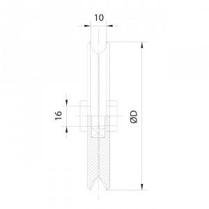 Roue en tôle gorge 10 mm pour porte garage basculante