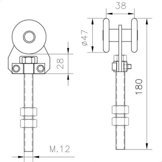 Roulette porte coulissante simple U60 nylon