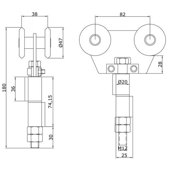 Chariot double U-60 intermédiaire à souder portes coulissantes