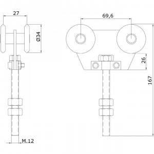 Chariot double U-40 en nylon pour portes coulissantes