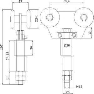 Chariot double intermédiaire U-40 à souder