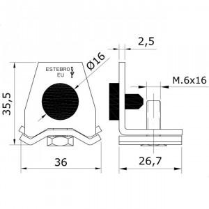 Arrêt rail U-40 inoxydable pour portes coulissantes