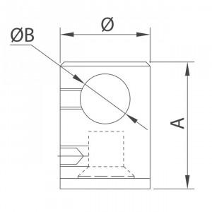 Connecteur tige embase plate pour garde corps