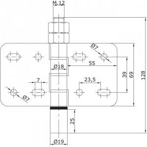 Guide inférieur intermédiaire à visser U-19 portes coulissantes