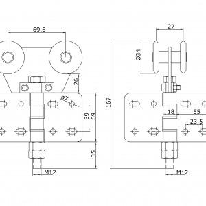 Chariot double U-40 intermédiaire en nylon à visser portes coulissantes