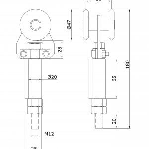 Chariot simple U-60 inoxydable d´extrémité à souder portes