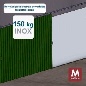 Ferrures pour portes coulissantes suspendues jusqu´à 150 kg - E150 inoxydable