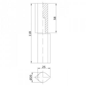 Paumelle profil goutte 20x120 avec bague portes coulissantes