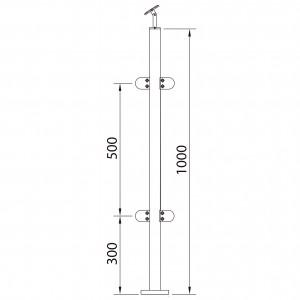 Poteau 4 pinces à verre 180º inox pour garde corps
