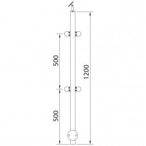 Poteau à mur avec 4 pinces à verre 180º inox pour garde corps