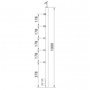 Poteau à mur avec 5 supports tige 12 mm inox