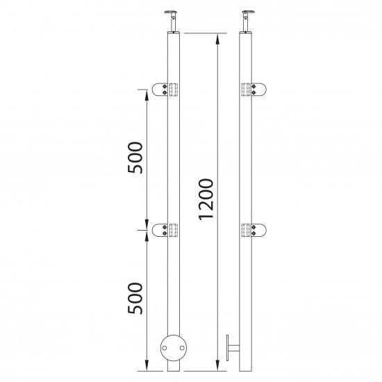 Poteau à mur avec 4 pinces à verre 90º pour garde corps