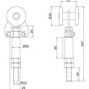 Chariot simple U-40 d´extrémité à souder en acier inoxydable portes coulissantes