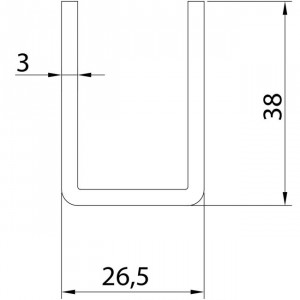 Rail inférieur U-19 inoxydable pour portes coulissantes