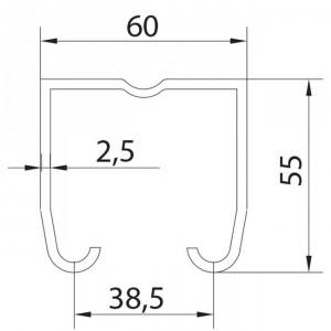 Rail superieur U-60 inoxydable pour portes coulissantes