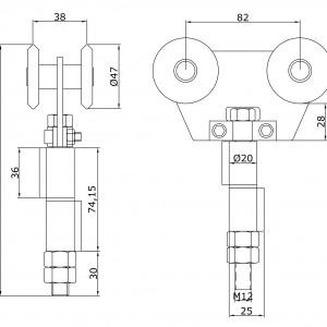 Chariot double U-60 inoxydable intermédiaire à souder portes
