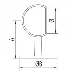 Support anneau pour extrémité forme arrondie pour garde corps
