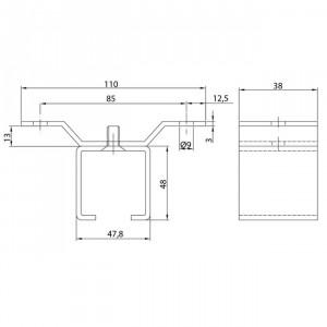Support pour rail U-40 à plafond inoxydable pour portes coulissantes
