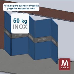 Ferrures pour portes coulissantes superposées jusqu´à 50 kg en acier inoxydable