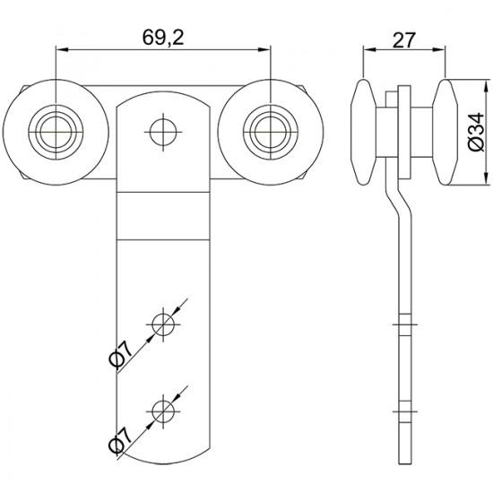Monture double U-40 fixation